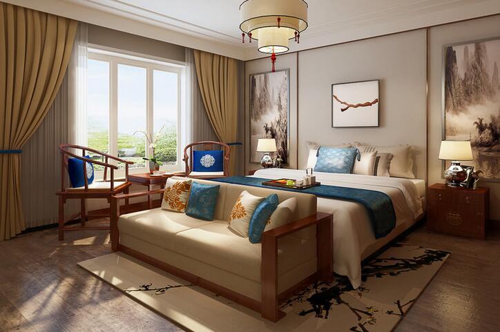 中式 三居 白领 收纳 80后 小资 卧室图片来自乐粉_20160927144235439在复地悦城102平中式风格的分享