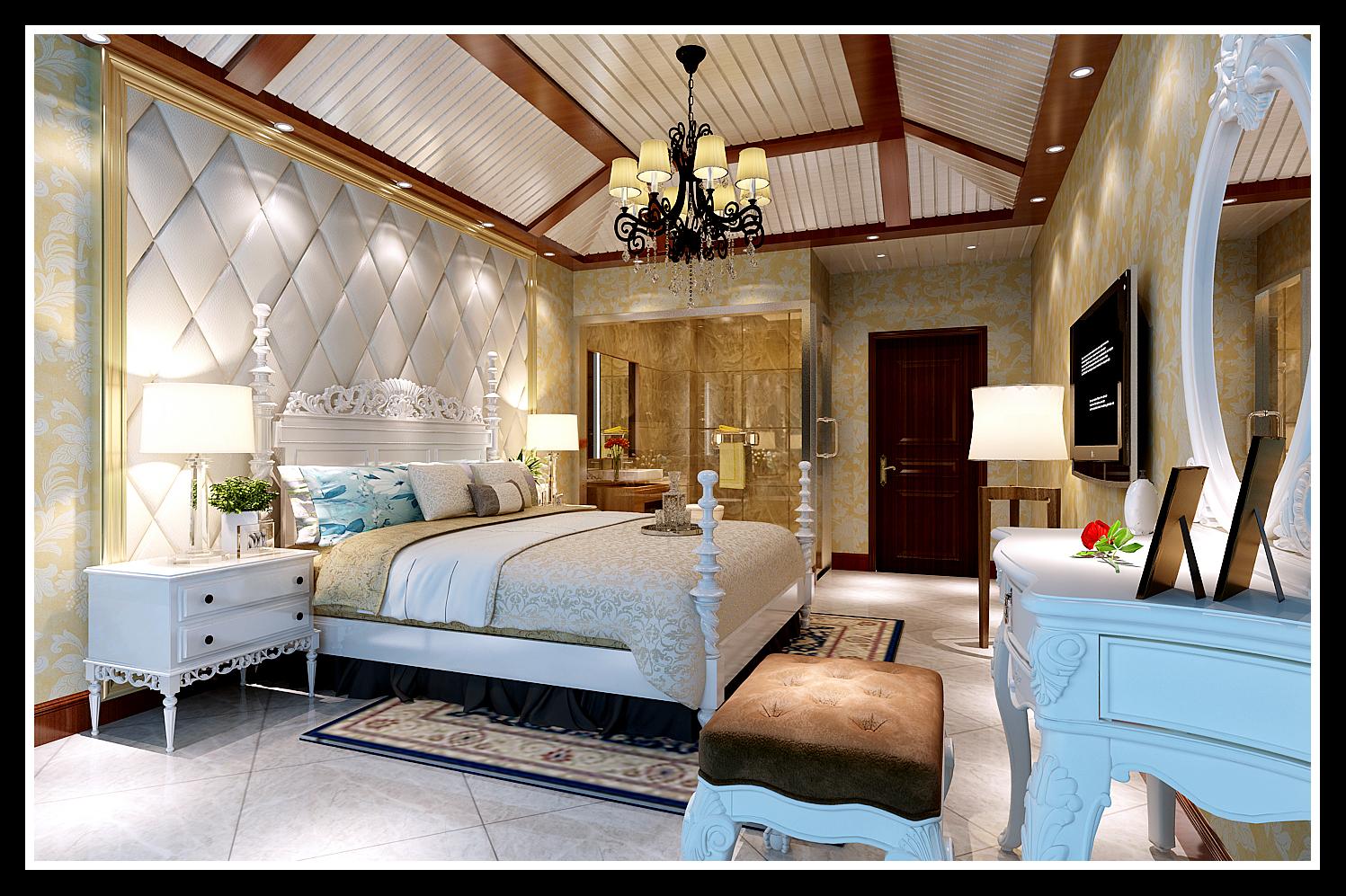 卧室 吊顶 背景墙 卧室图片来自石家庄大业美家装饰在天海誉天下139平—美式田园风格的分享