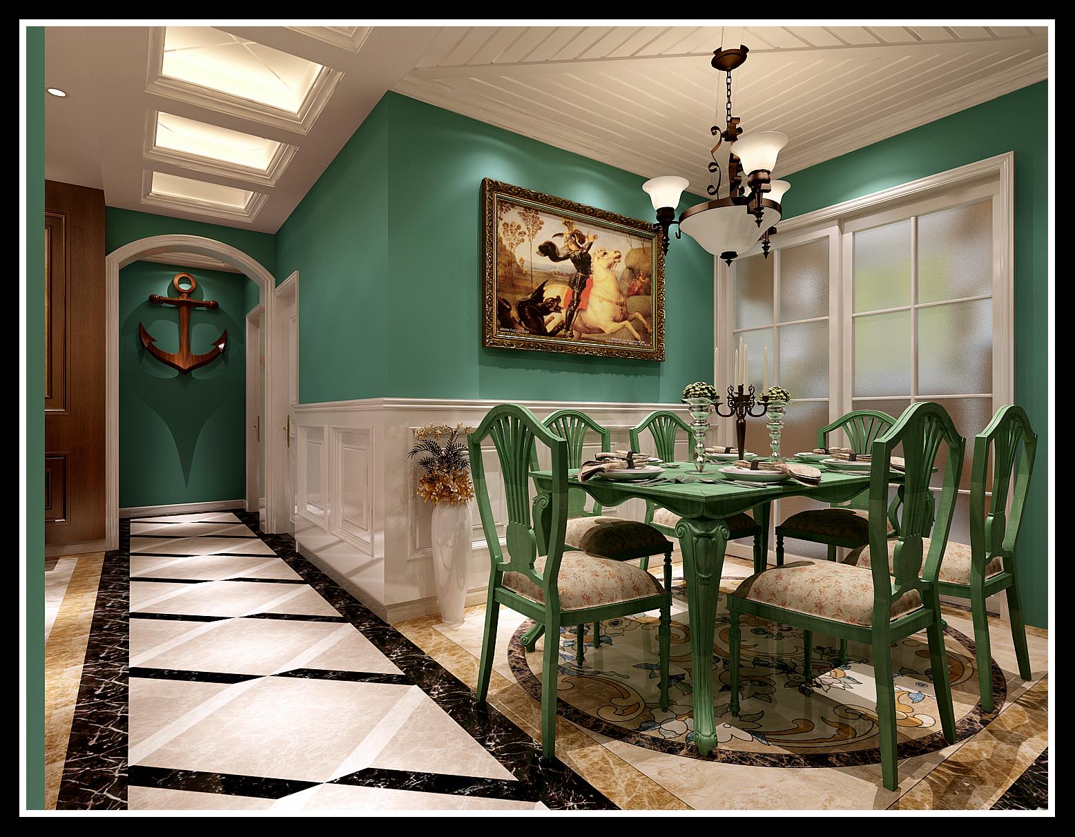 餐厅 吊顶 餐厅图片来自石家庄大业美家装饰在天海誉天下139平—美式田园风格的分享