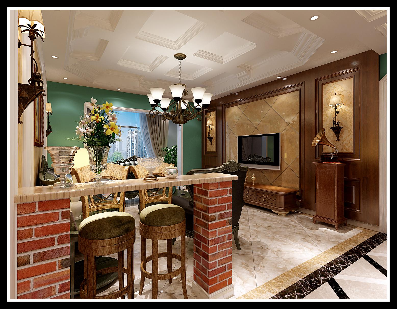 客厅 吧台 客厅图片来自石家庄大业美家装饰在天海誉天下139平—美式田园风格的分享