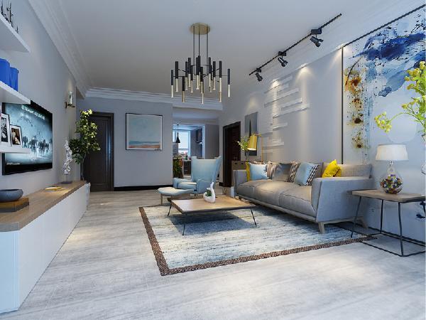 沙发墙素色文化石增强整体空间的质感,开放式厨房让整个空间变得开阔,一起做饭的时光是一家人的乐趣。