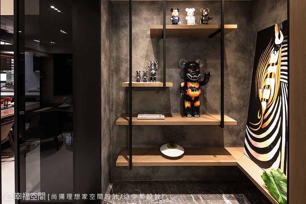 三居 现代 玄关图片来自幸福空间在层迭馨暖 渲染165平沉稳静谧宅的分享