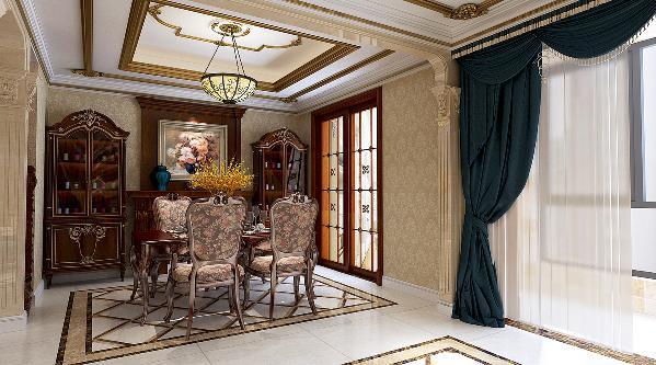 天山熙湖200平—简欧风格—餐厅装修效果图