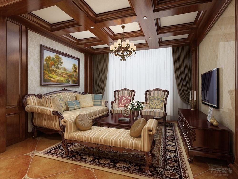 美式 二居 收纳 小资 客厅图片来自阳光力天装饰在力天装饰-奥莱城-109㎡-美式的分享