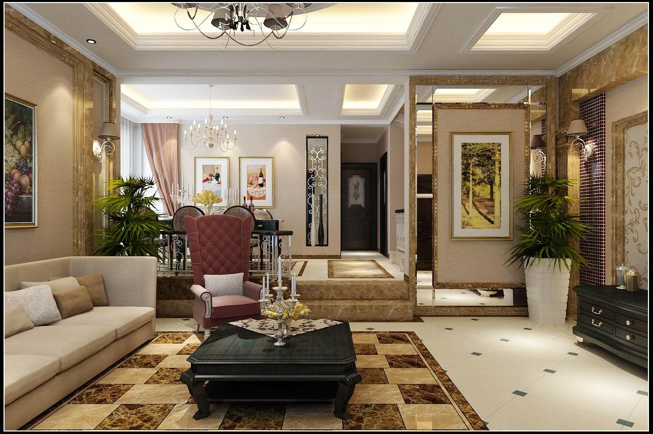 客厅图片来自石家庄大业美家装饰在江南新城380平—新古典风格的分享