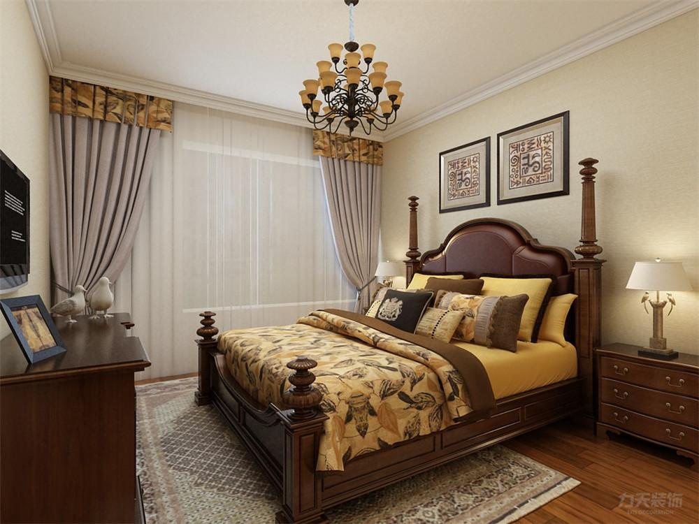 美式 二居 收纳 小资 卧室图片来自阳光力天装饰在力天装饰-奥莱城-109㎡-美式的分享
