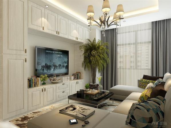 客厅顶面回字形吊顶,地面800*800地砖,电视背景墙做柜子,增大了储存空间,沙发背景墙挂挂画做装饰