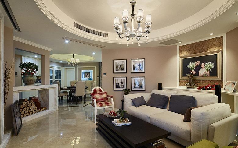 客厅图片来自家装大管家在放飞自我 170平欧式混搭时尚3居的分享