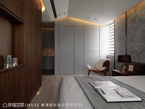 公领域的折线造型元素,持续蔓延至卧室内,让主题设计元素相互呼应。