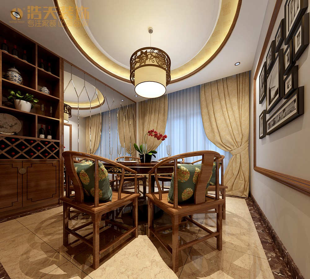 简约 餐厅图片来自深圳浩天装饰在浩天装饰天御-现代中式的分享