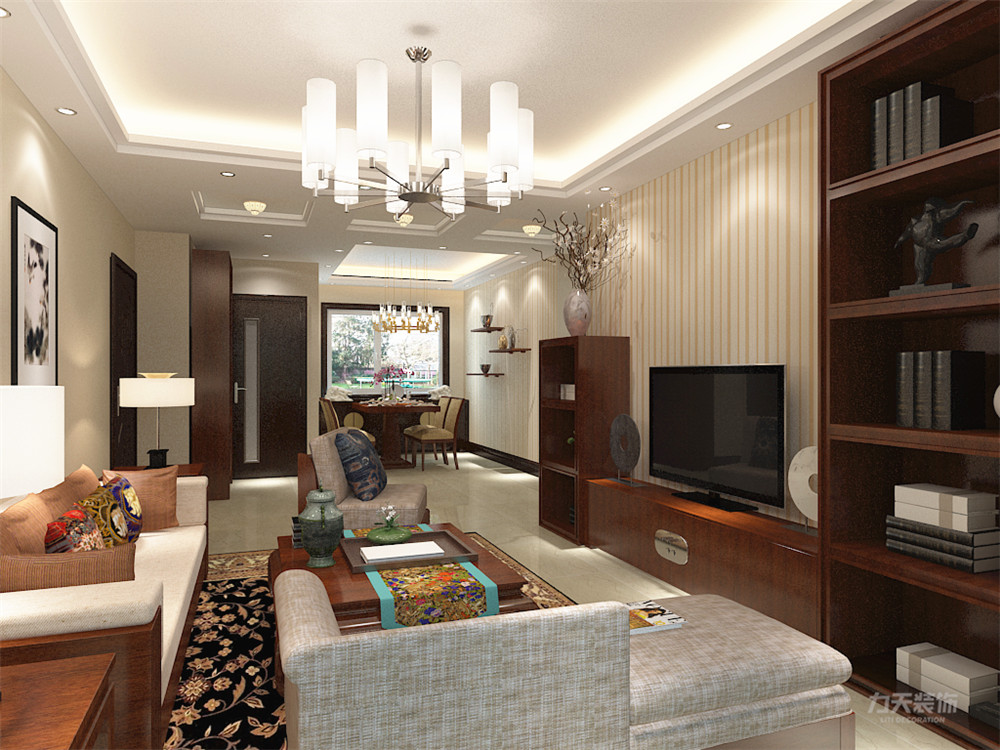 新中式 中式 二居 收纳 小资 客厅图片来自阳光力天装饰在力天装饰-奥莱城-96㎡-新中式1的分享