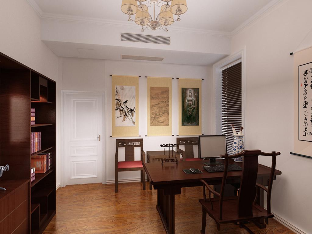 四居 中式 书房图片来自tjsczs88在金地紫乐府的分享