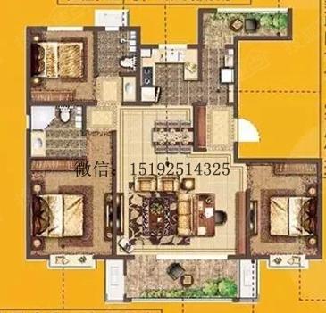 实创 保利 蔷薇公馆 新古典 户型图图片来自快乐彩在保利蔷薇公馆新古典三居室130平的分享