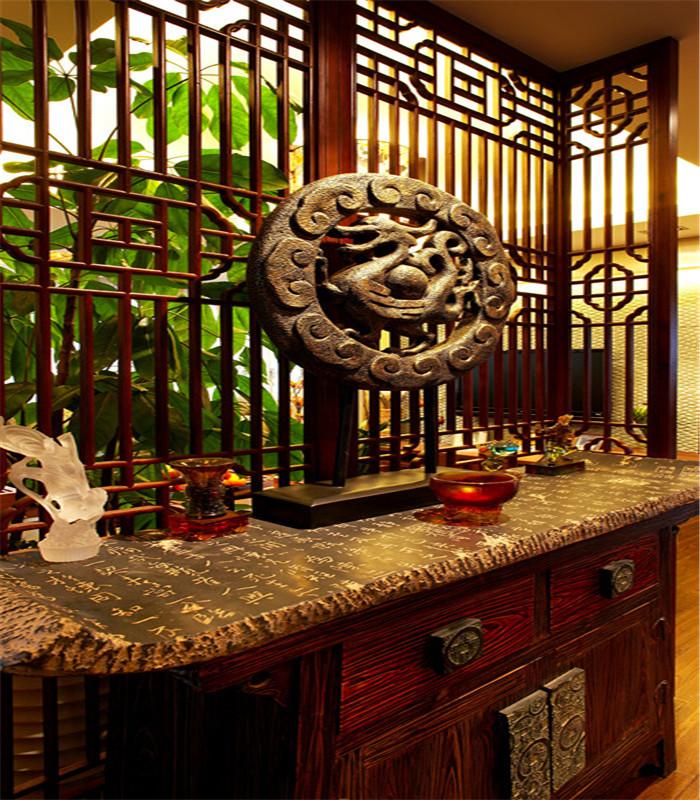 中式 别墅 大户型 80后 小资 复式 跃层 玄关图片来自高度国际姚吉智在180平米中式风情醉在茶乡梦的分享