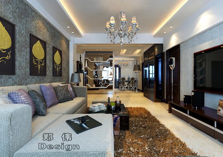 三居 克莱枫丹 现代风格 客厅图片来自百家设计小刘在克莱枫丹134平现代风格的分享
