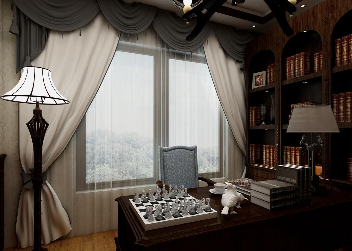 书房图片来自湖北省大唐安盛建筑工程有限公司在蕲春别墅的分享