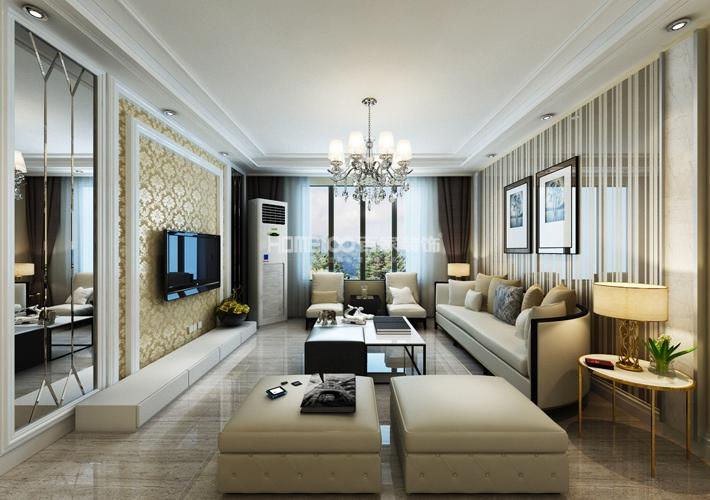 三居 中航城 现代风格 客厅图片来自百家设计小刘在中航城128平现代风格半包5万的分享