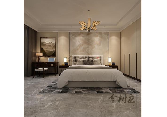新中式 百家装饰 设计 效果图 别墅 卧室图片来自百家装饰--小莹在新中式风格的分享
