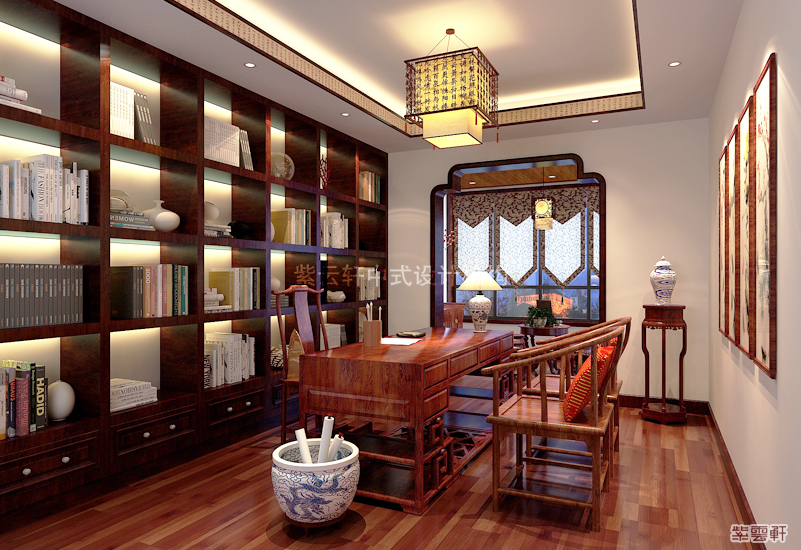 中式装修 别墅装修 中式设计 别墅案例 别墅作品 书房图片来自紫云轩中式装修在北京小汤山大平层装修设计作品的分享
