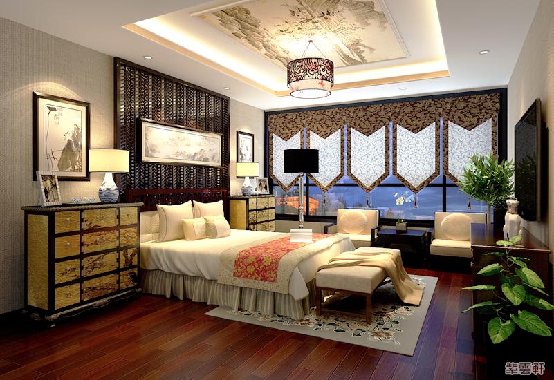 中式装修 别墅装修 中式设计 别墅案例 别墅作品 卧室图片来自紫云轩中式装修在北京小汤山大平层装修设计作品的分享
