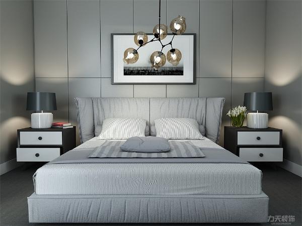 主卧室的床是白色,黑白背景画当背景墙使得层次更加清楚。次卧设有浅色的床和床头柜。背景墙上有背景画。