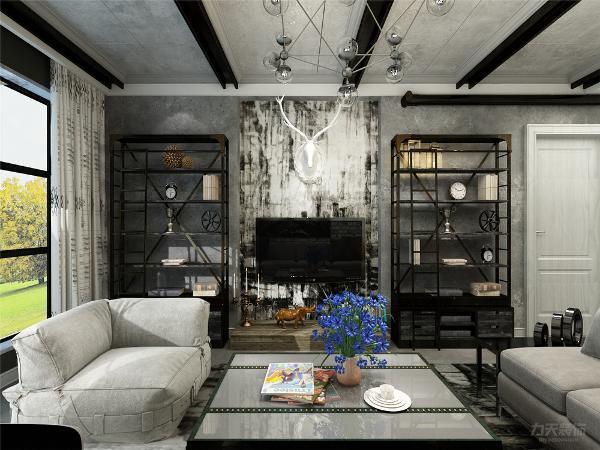 客厅电视背景墙贴的壁纸,加上旁边的铁质书架,和沙发背景墙的画框融为一体,更能体现出工业风的效果。