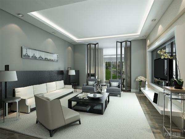整体的背景墙采用灰色系墙纸。整体走黑白灰的低调简约路线。沙发是白色,设有沙发壁是黑色,使得整个房间层次分明。