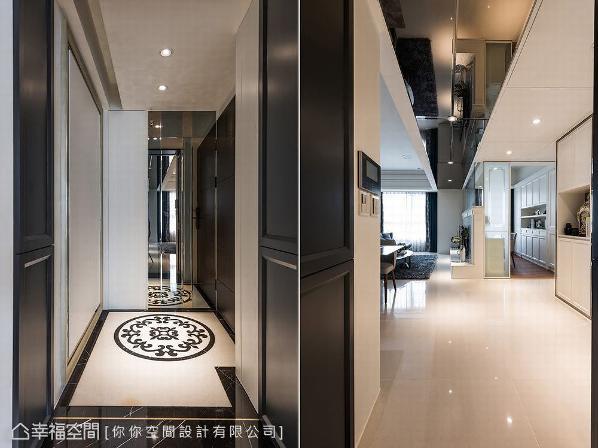 入口玄关,林妤如设计师以古典图腾地坪揭开迎宾意象,上方天花则铺设茶镜来降低梁柱的压迫感。