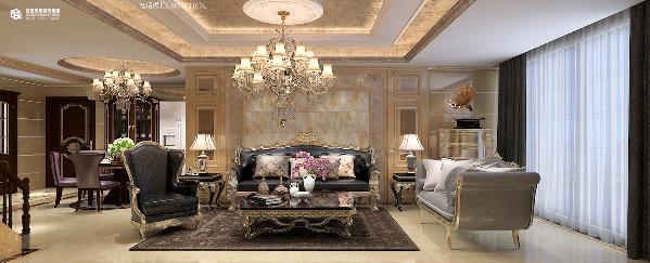 澜湾九里-129平米-欧式风格装修案例——客厅