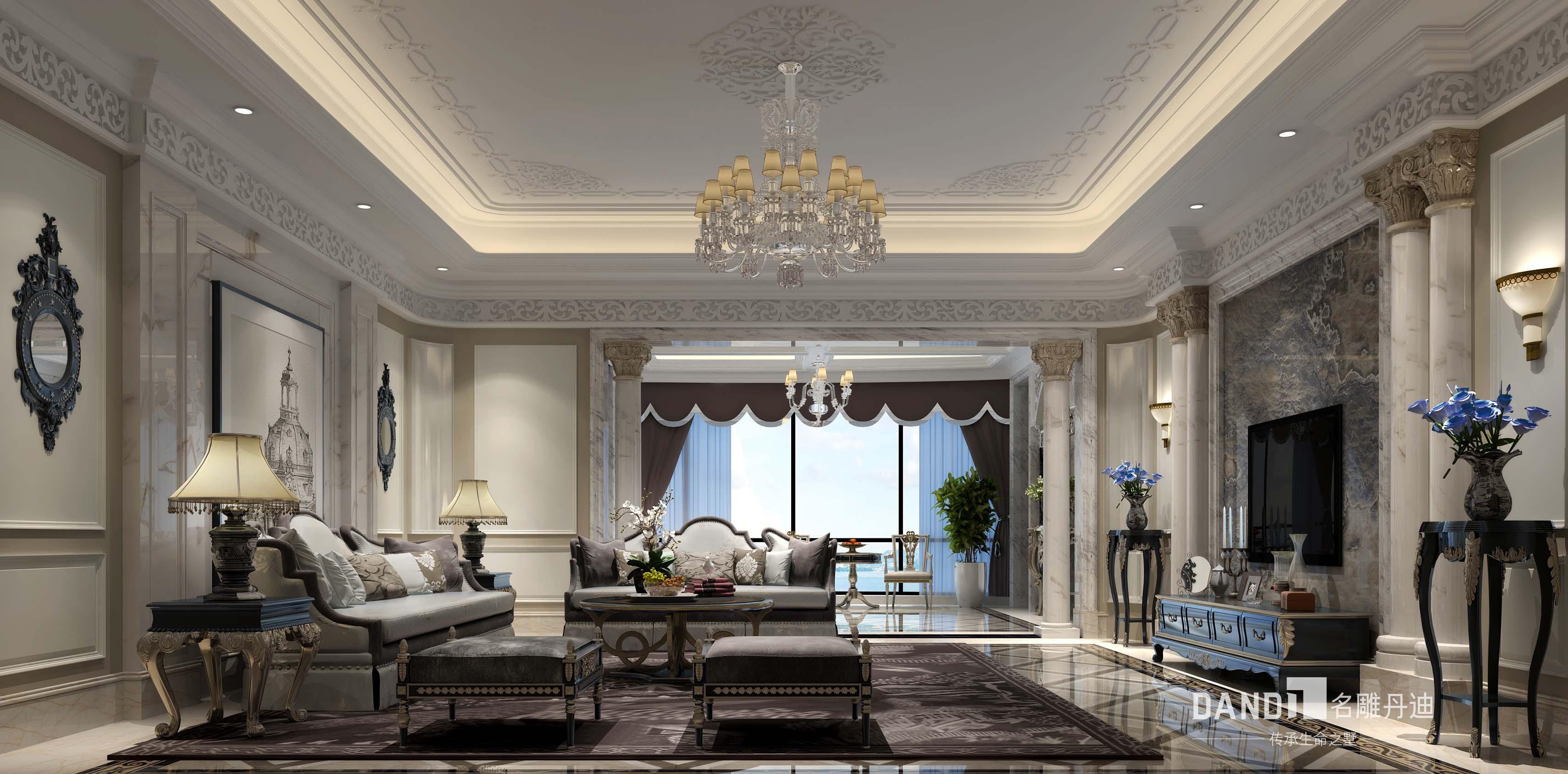 法式 欧式 客厅图片来自名雕丹迪在君临海域法式风格300平别墅的分享