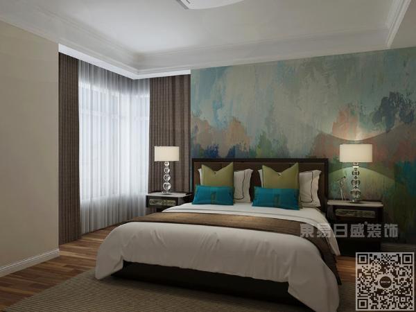 整体卧室以冷色调为主,暖色台灯为空间增添暖意,给人以沉稳大气之感