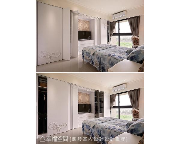 柜子门片使用横拉门,部分采斜开设计,开启时也不会占用过多走道空间,提升生活便利性。