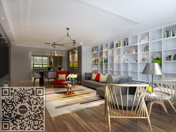 客厅采用了格子收纳的方法,既起到了收纳的作用也装饰了空间。