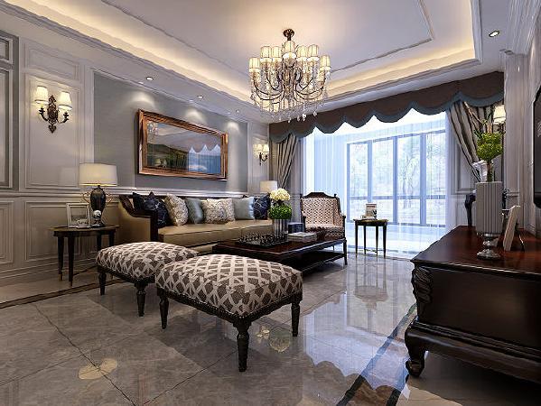 墙面整体采用素色的纯纸墙纸,加上大面积的护墙板造型,营造温馨奢华效果。
