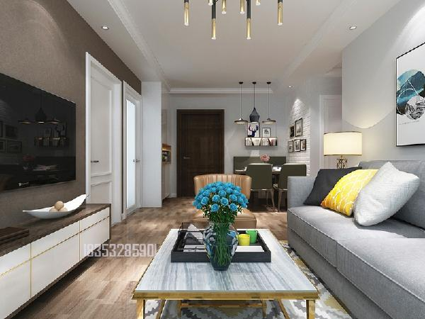 绿地香颂90平两居室装修,简约北欧风格
