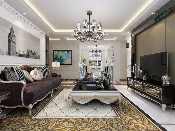 客厅的电视背景墙采用的一个简单但是不乏味的一个造型,沙发背景墙有一副巨大的挂画,金色的欧式家具,华丽的吊灯,为整个空间营造了雍容华贵的装饰效果