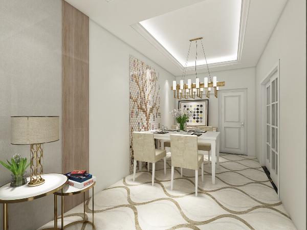 餐厅的设计还是引用了客厅的简洁风格,顶面和地面是客厅的延续,增加了空间的流畅感,在餐桌的一边用一副艺术编织画作为装饰,使其成为空间的亮点,在餐边柜的上面放上一副艺术画与编织画相互呼应