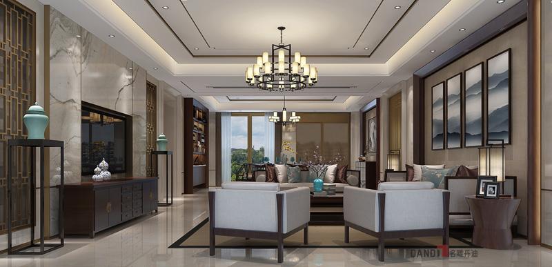 别墅 中式 客厅图片来自名雕丹迪在鼎峰原著300平方新中式装修的分享