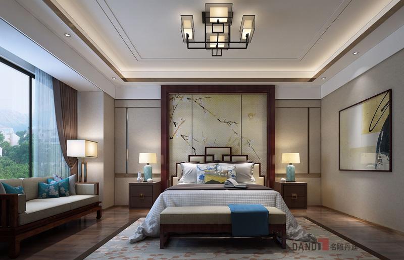 别墅 中式 卧室图片来自名雕丹迪在鼎峰原著300平方新中式装修的分享