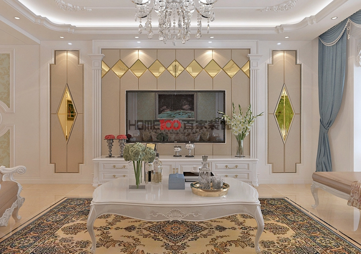 欧式 大话装修 8090 设计 施工 客厅图片来自百家装饰--小莹在名流印象137平欧式风格的分享