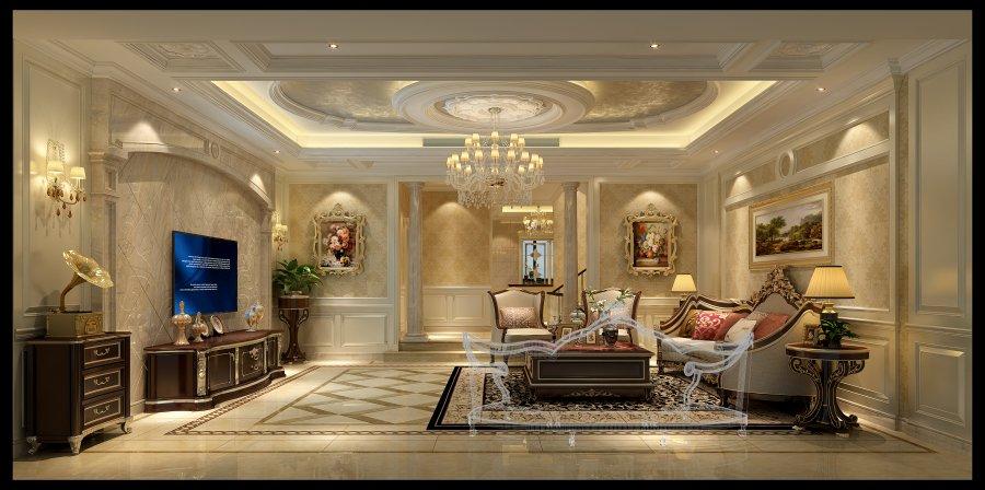 简约法式 成都龙发 别墅装修 客厅图片来自成都装修找龙发在复地御香山简约法式风格的分享