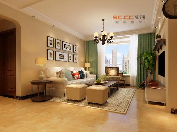 沙发背景墙效果-福美国际120平三居室-美式田园风格-石家庄实创装饰