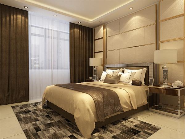 卧室也是采用了地砖,地砖的散热性比较好,也是根据客户的喜好设计的,地砖也显得地面干净亮堂.