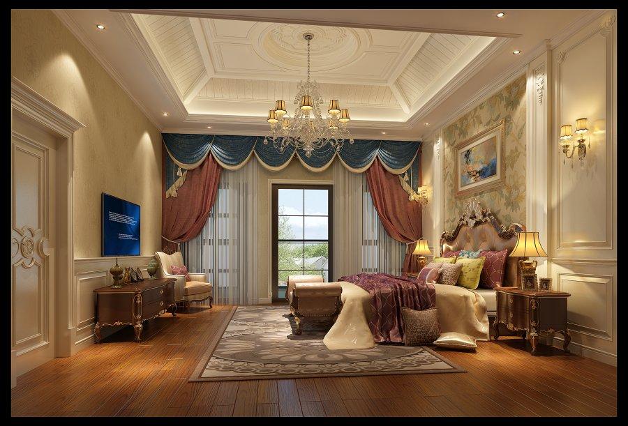 简约法式 成都龙发 别墅装修 卧室图片来自成都装修找龙发在复地御香山简约法式风格的分享