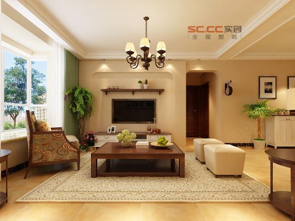 电视背景墙效果-福美国际120平三居室-美式田园风格-石家庄实创装饰
