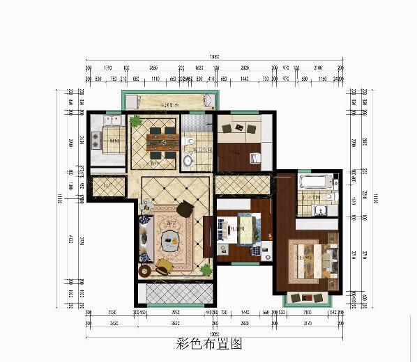 此案例整体户型设计的风格为美式风格,整体色调以白色、米黄色系、金色、实木色为主。