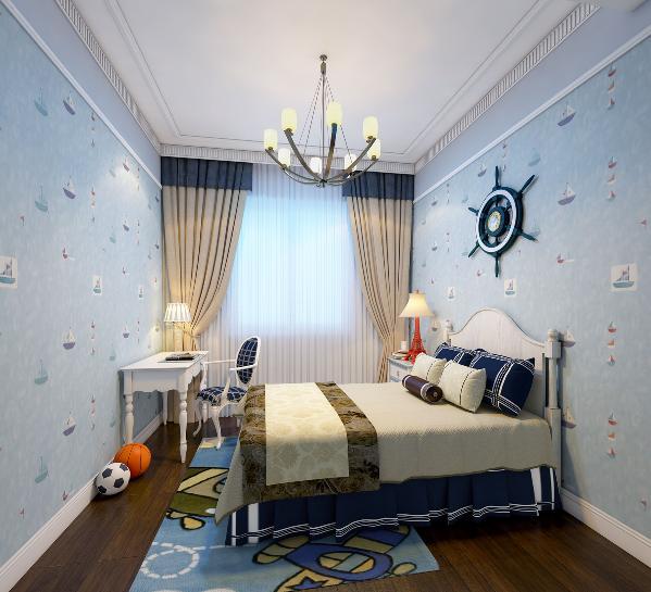 孩子房选择了蓝色系的一款水手主题壁纸,搭配了白色实木家具,整体空间清清爽爽、干干净净非常符合孩子房的特征,一款简单样式的吊灯很好的起到了装饰效果,床头的舵手方向盘很好的突出了整个房间的主题。