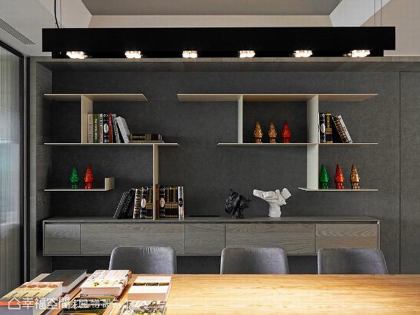 设计师杨竣淞与罗尤呈以线条切割的形式,勾勒出展示柜端景的美丽面貌。
