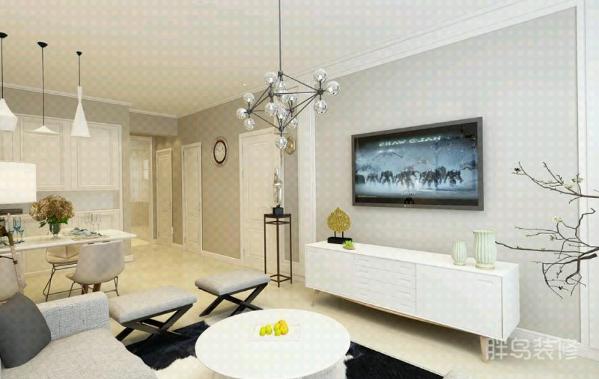 整个客厅色调为典型的浅色系应用,软装搭配以布艺为主;