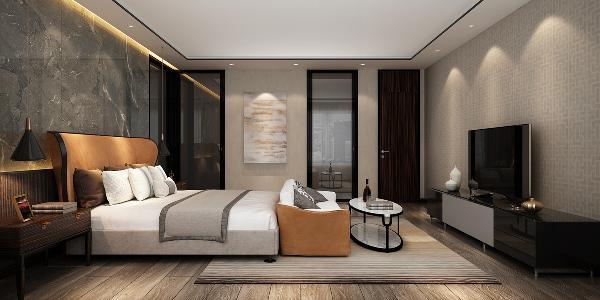简约的回字形吊顶同样以极细的黑钢收边点缀,在反灯槽的灯光带和四周均匀分布的射灯烘托下,凸显了进口壁纸纹理的精致感,和进口地板的独具的细节品质感。